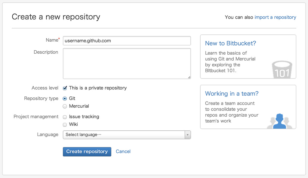 Bitbucket create new repository